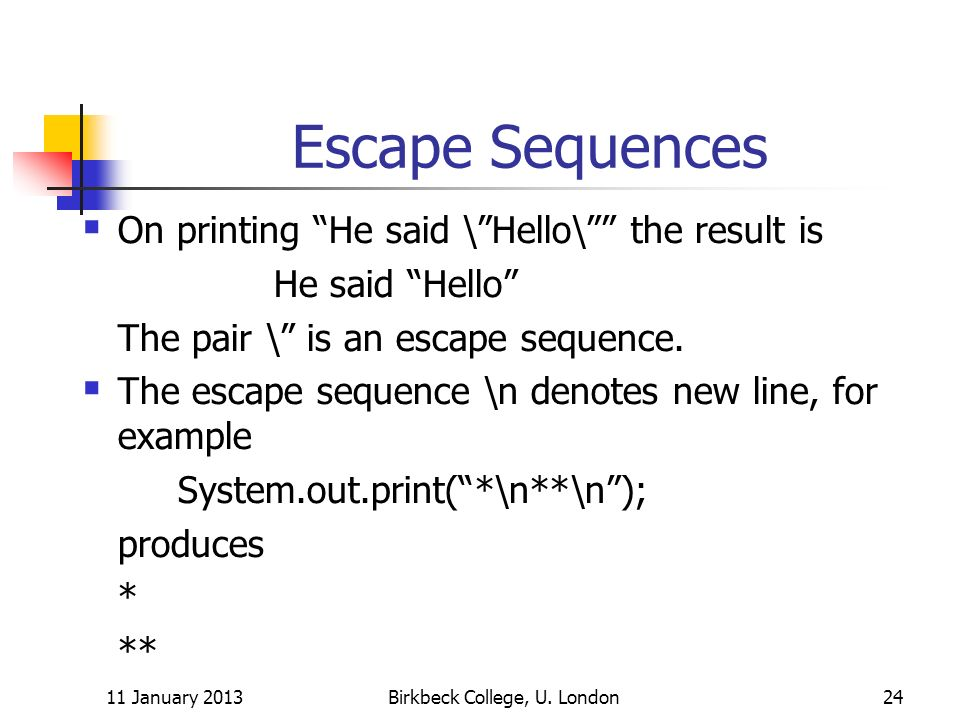 Escape Sequences On printing He said \Hello\ the result is He said Hello The pair \ is an escape sequence.