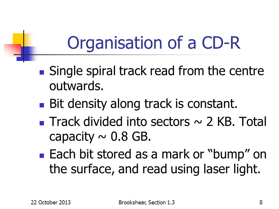 22 October 2013Brookshear, Section 1.38 Organisation of a CD-R Single spiral track read from the centre outwards. Bit density along track is constant.