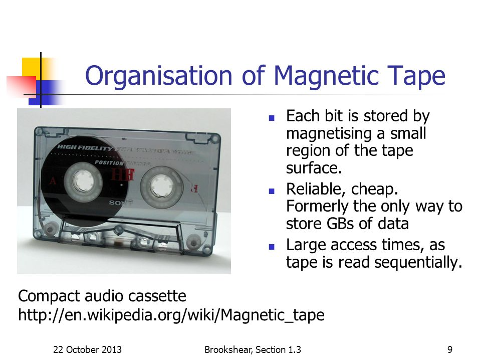 22 October 2013Brookshear, Section 1.39 Organisation of Magnetic Tape Each bit is stored by magnetising a small region of the tape surface. Reliable,