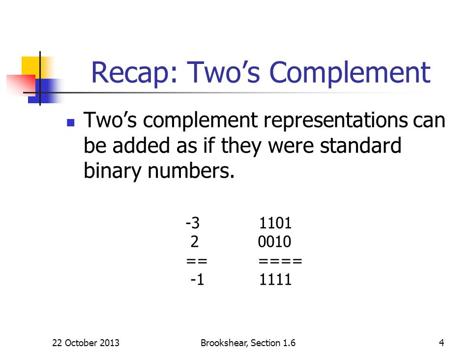 Recap: Twos Complement Twos complement representations can be added as if they were standard binary numbers. 22 October 2013Brookshear, Section 1.64 -