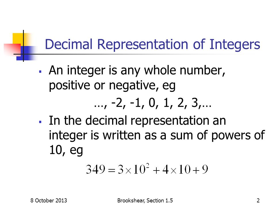 Decimal Representation of Integers An integer is any whole number, positive or negative, eg …, -2, -1, 0, 1, 2, 3,… In the decimal representation an i