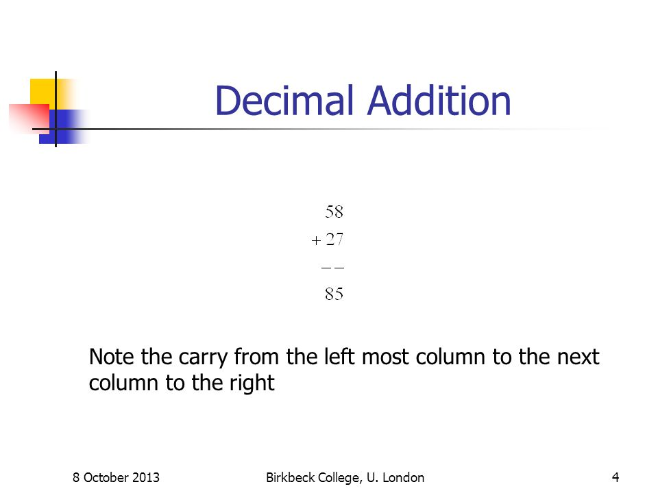 Decimal Addition 8 October 2013Birkbeck College, U. London4 Note the carry from the left most column to the next column to the right