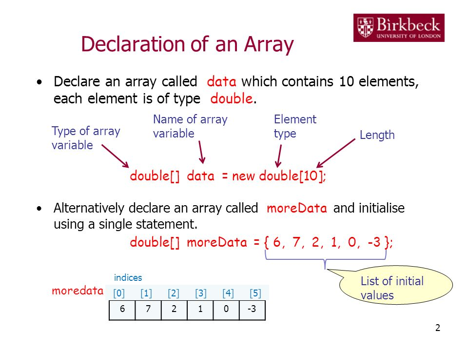 Initialisation of an Array The elements of an array are accessed using an index.
