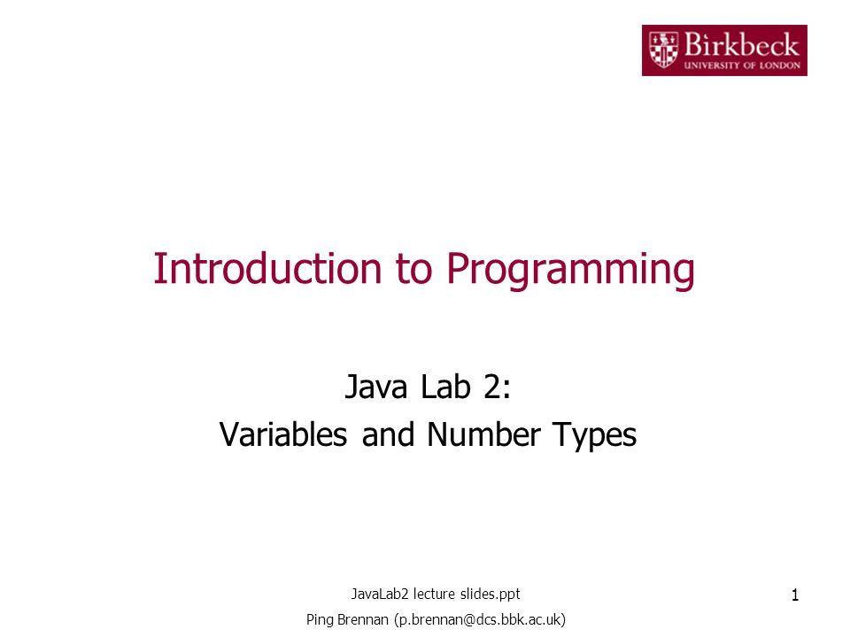 Introduction to Programming Java Lab 2: Variables and Number Types 1 JavaLab2 lecture slides.ppt Ping Brennan