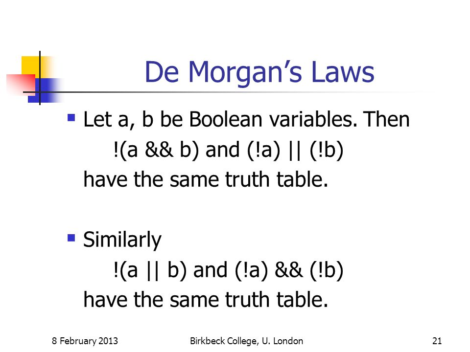 De Morgans Laws Let a, b be Boolean variables.