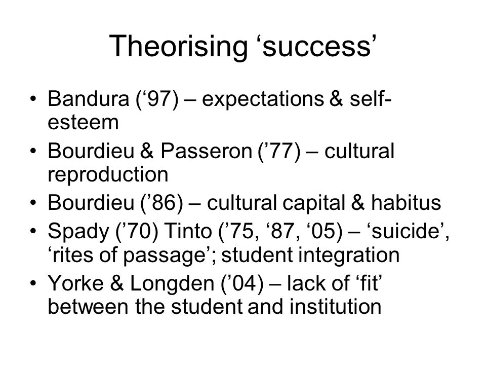 Theorising success Bandura (97) – expectations & self- esteem Bourdieu & Passeron (77) – cultural reproduction Bourdieu (86) – cultural capital & habitus Spady (70) Tinto (75, 87, 05) – suicide, rites of passage; student integration Yorke & Longden (04) – lack of fit between the student and institution