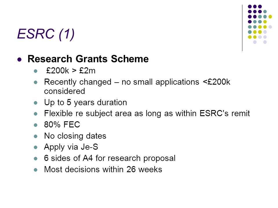 ESRC (1) Research Grants Scheme £200k > £2m Recently changed – no small applications <£200k considered Up to 5 years duration Flexible re subject area as long as within ESRC s remit 80% FEC No closing dates Apply via Je-S 6 sides of A4 for research proposal Most decisions within 26 weeks
