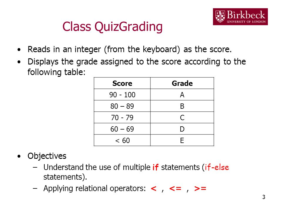 Class QuizGrading Reads in an integer (from the keyboard) as the score. Displays the grade assigned to the score according to the following table: Obj