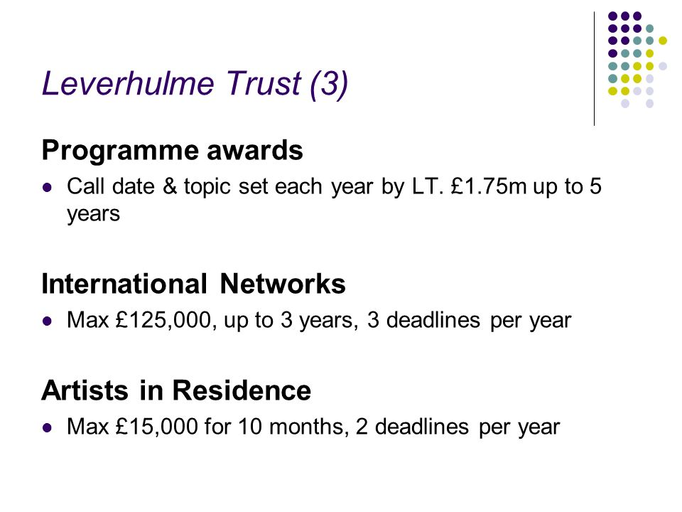 Leverhulme Trust (3) Programme awards Call date & topic set each year by LT. £1.75m up to 5 years International Networks Max £125,000, up to 3 years,