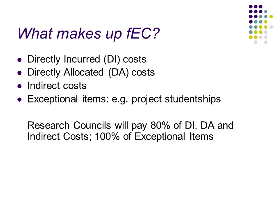 What makes up fEC? Directly Incurred (DI) costs Directly Allocated (DA) costs Indirect costs Exceptional items: e.g. project studentships Research Cou