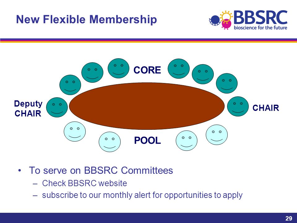 New Flexible Membership To serve on BBSRC Committees –Check BBSRC website –subscribe to our monthly alert for opportunities to apply 29 POOL CORE CHAIR Deputy CHAIR