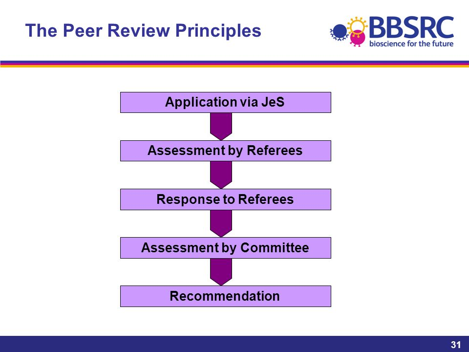 The Peer Review Principles 31 Recommendation Application via JeS Assessment by Referees Response to Referees Assessment by Committee