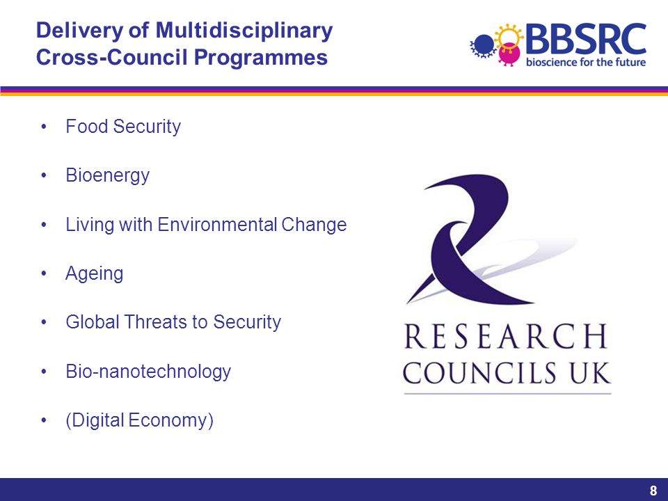 8 Delivery of Multidisciplinary Cross-Council Programmes Food Security Bioenergy Living with Environmental Change Ageing Global Threats to Security Bio-nanotechnology (Digital Economy)