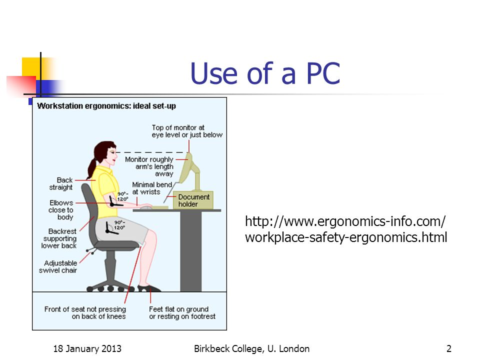 Posture Lower back: supported by the chair back Shoulders parallel to keyboard and monitor Head up and balanced, not tilted up or down 18 January 2013Birkbeck College, U.