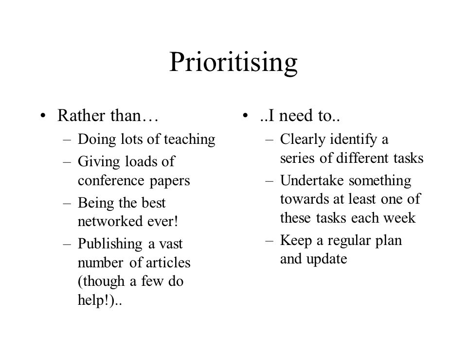 Prioritising Rather than… –Doing lots of teaching –Giving loads of conference papers –Being the best networked ever.