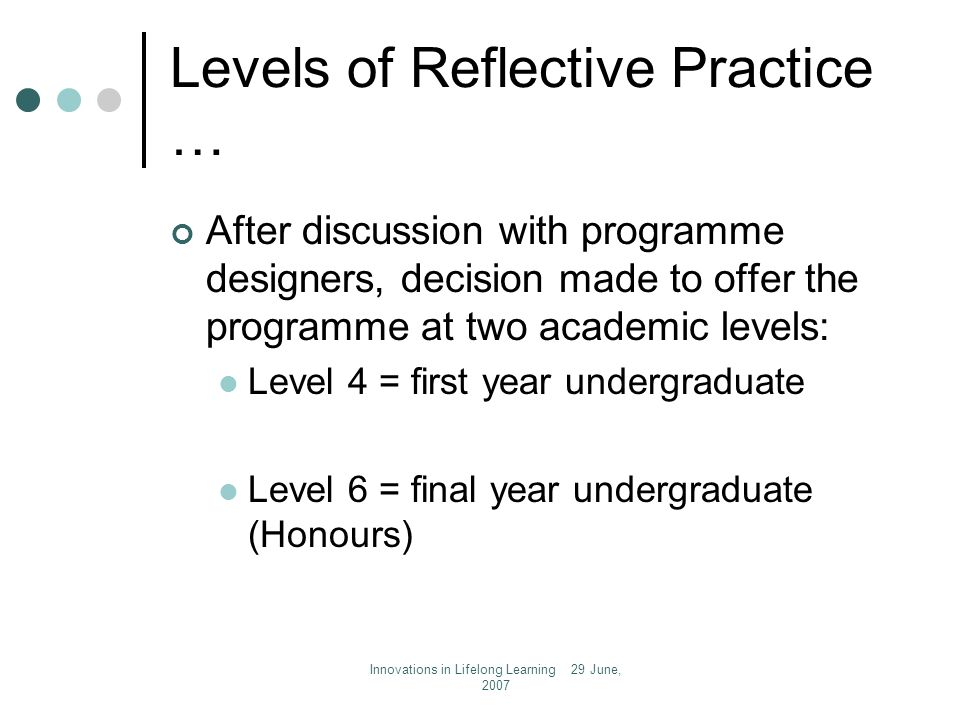 Innovations in Lifelong Learning 29 June, 2007 Levels of Reflective Practice … After discussion with programme designers, decision made to offer the programme at two academic levels: Level 4 = first year undergraduate Level 6 = final year undergraduate (Honours)