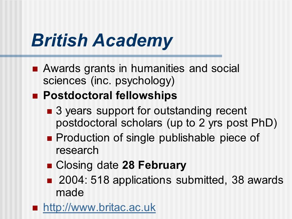 British Academy Awards grants in humanities and social sciences (inc.