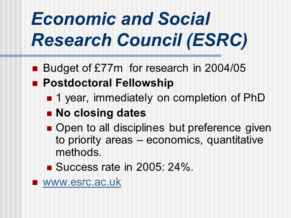 Economic and Social Research Council (ESRC) Budget of £77m for research in 2004/05 Postdoctoral Fellowship 1 year, immediately on completion of PhD No closing dates Open to all disciplines but preference given to priority areas – economics, quantitative methods.