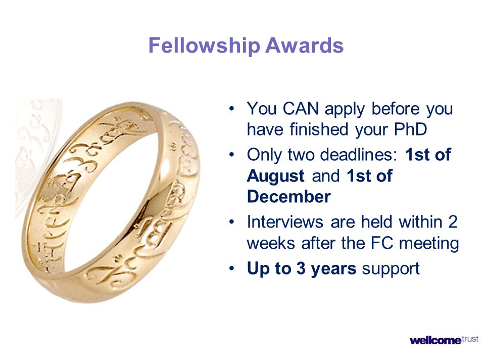 Fellowship Awards You CAN apply before you have finished your PhD Only two deadlines: 1st of August and 1st of December Interviews are held within 2 w