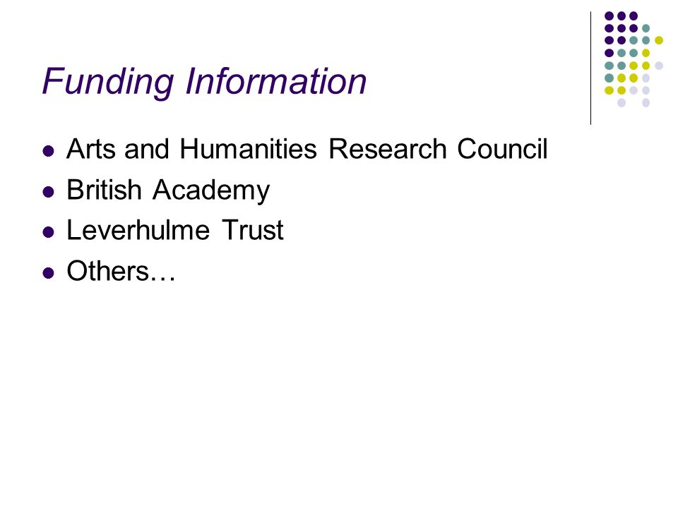 Funding Information Arts and Humanities Research Council British Academy Leverhulme Trust Others…