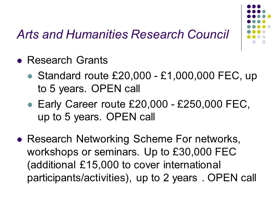 Arts and Humanities Research Council Research Grants Standard route £20,000 - £1,000,000 FEC, up to 5 years.