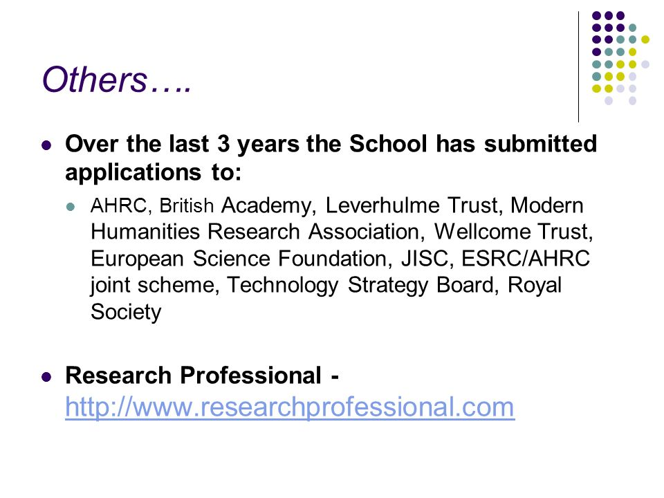 Others…. Over the last 3 years the School has submitted applications to: AHRC, British Academy, Leverhulme Trust, Modern Humanities Research Associati