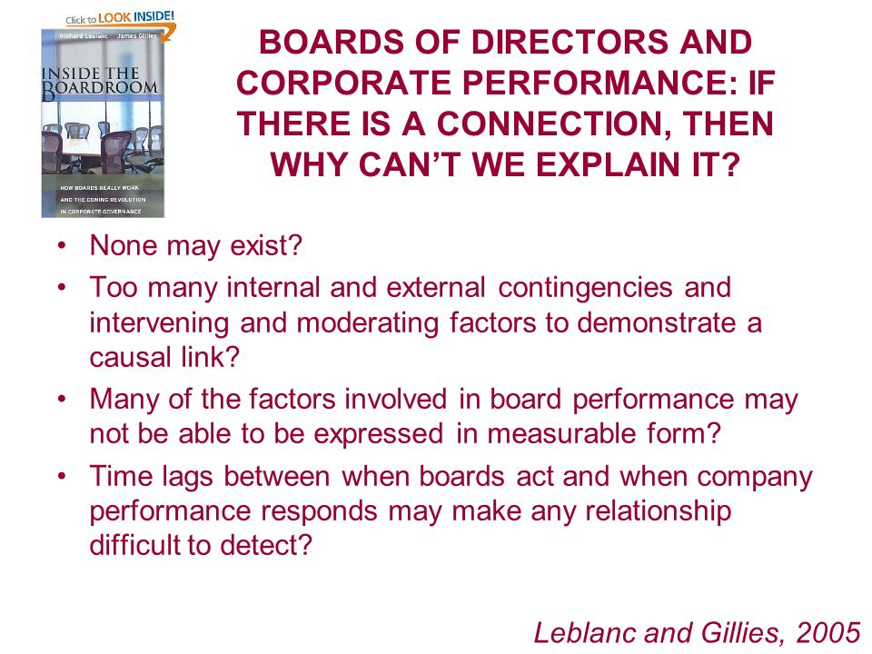 BOARDS OF DIRECTORS AND CORPORATE PERFORMANCE: IF THERE IS A CONNECTION, THEN WHY CANT WE EXPLAIN IT.