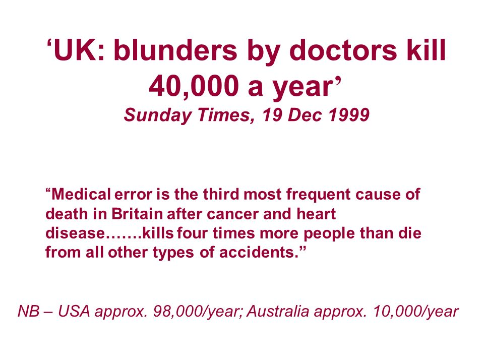 UK: blunders by doctors kill 40,000 a year Sunday Times, 19 Dec 1999 Medical error is the third most frequent cause of death in Britain after cancer and heart disease…….kills four times more people than die from all other types of accidents.