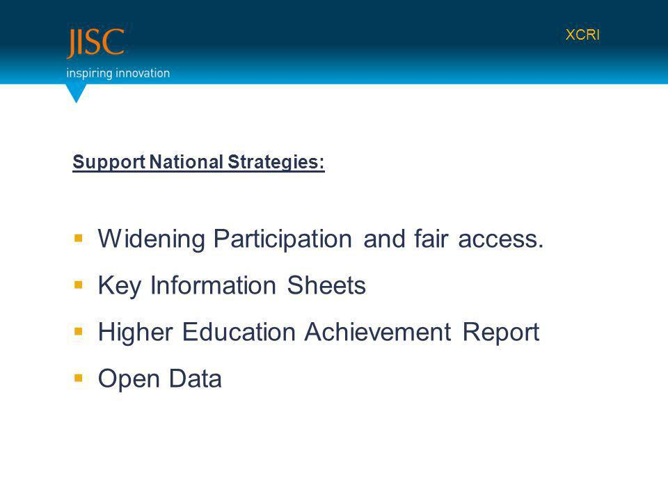 Support National Strategies: Widening Participation and fair access.