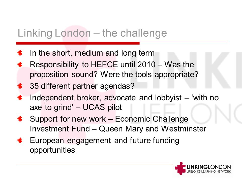 Linking London – the challenge In the short, medium and long term Responsibility to HEFCE until 2010 – Was the proposition sound.