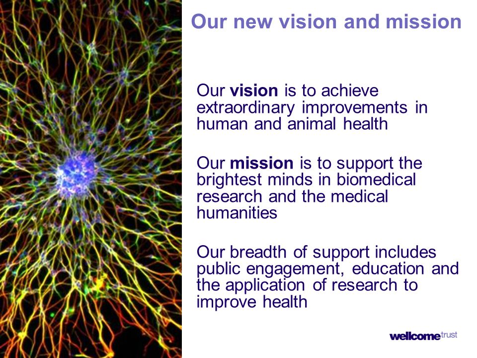 Our new vision and mission Our vision is to achieve extraordinary improvements in human and animal health Our mission is to support the brightest minds in biomedical research and the medical humanities Our breadth of support includes public engagement, education and the application of research to improve health