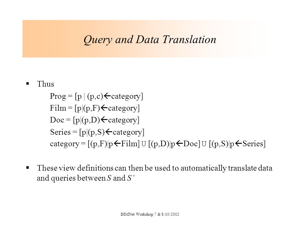 DIMNet Workshop 7 & 8/10/2002 Query and Data Translation Thus Prog = [p | (p,c) category] Film = [p|(p,F) category] Doc = [p|(p,D) category] Series = [p|(p,S) category] category = [(p,F)|p Film] U [(p,D)|p Doc] U [(p,S)|p Series] These view definitions can then be used to automatically translate data and queries between S and S