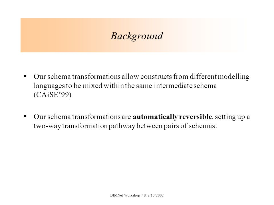 DIMNet Workshop 7 & 8/10/2002 Background Our schema transformations allow constructs from different modelling languages to be mixed within the same intermediate schema (CAiSE99) Our schema transformations are automatically reversible, setting up a two-way transformation pathway between pairs of schemas: