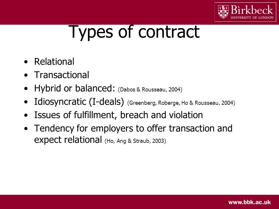 Types of contract Relational Transactional Hybrid or balanced: (Dabos & Rousseau, 2004) Idiosyncratic (I-deals) (Greenberg, Roberge, Ho & Rousseau, 2004) Issues of fulfillment, breach and violation Tendency for employers to offer transaction and expect relational (Ho, Ang & Straub, 2003)