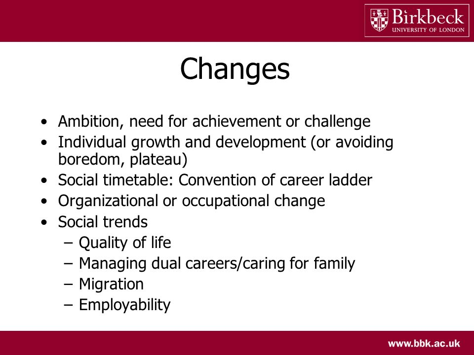 Changes Ambition, need for achievement or challenge Individual growth and development (or avoiding boredom, plateau) Social timetable: Convention of career ladder Organizational or occupational change Social trends –Quality of life –Managing dual careers/caring for family –Migration –Employability