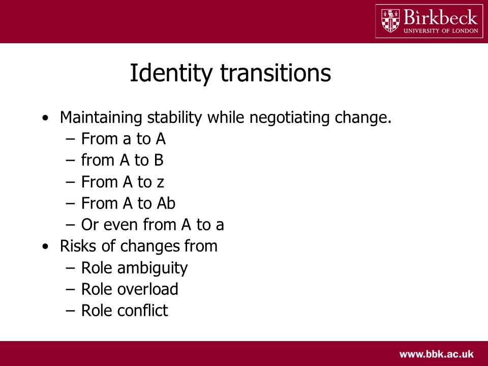 Identity transitions Maintaining stability while negotiating change.