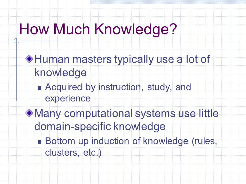 How Much Knowledge? Human masters typically use a lot of knowledge Acquired by instruction, study, and experience Many computational systems use littl