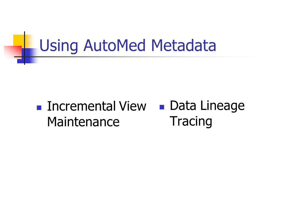 Using AutoMed Metadata Incremental View Maintenance Data Lineage Tracing