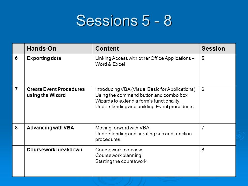 Sessions 5 - 8 Hands-OnContentSession 6Exporting dataLinking Access with other Office Applications – Word & Excel5 7Create Event Procedures using the Wizard Introducing VBA (Visual Basic for Applications) Using the command button and combo box Wizards to extend a form s functionality.