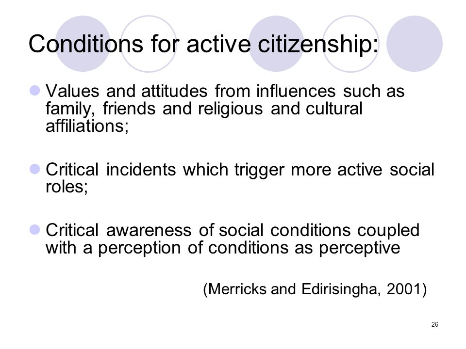 26 Conditions for active citizenship: Values and attitudes from influences such as family, friends and religious and cultural affiliations; Critical i