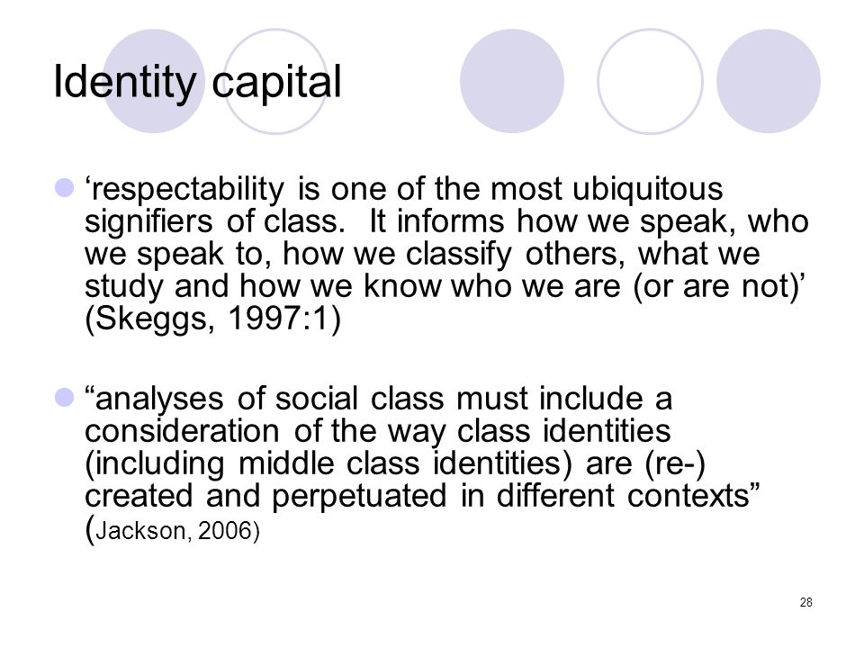 28 Identity capital respectability is one of the most ubiquitous signifiers of class. It informs how we speak, who we speak to, how we classify others