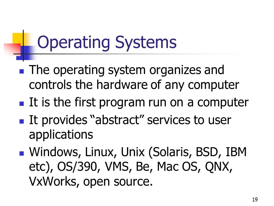 19 Operating Systems The operating system organizes and controls the hardware of any computer It is the first program run on a computer It provides ab