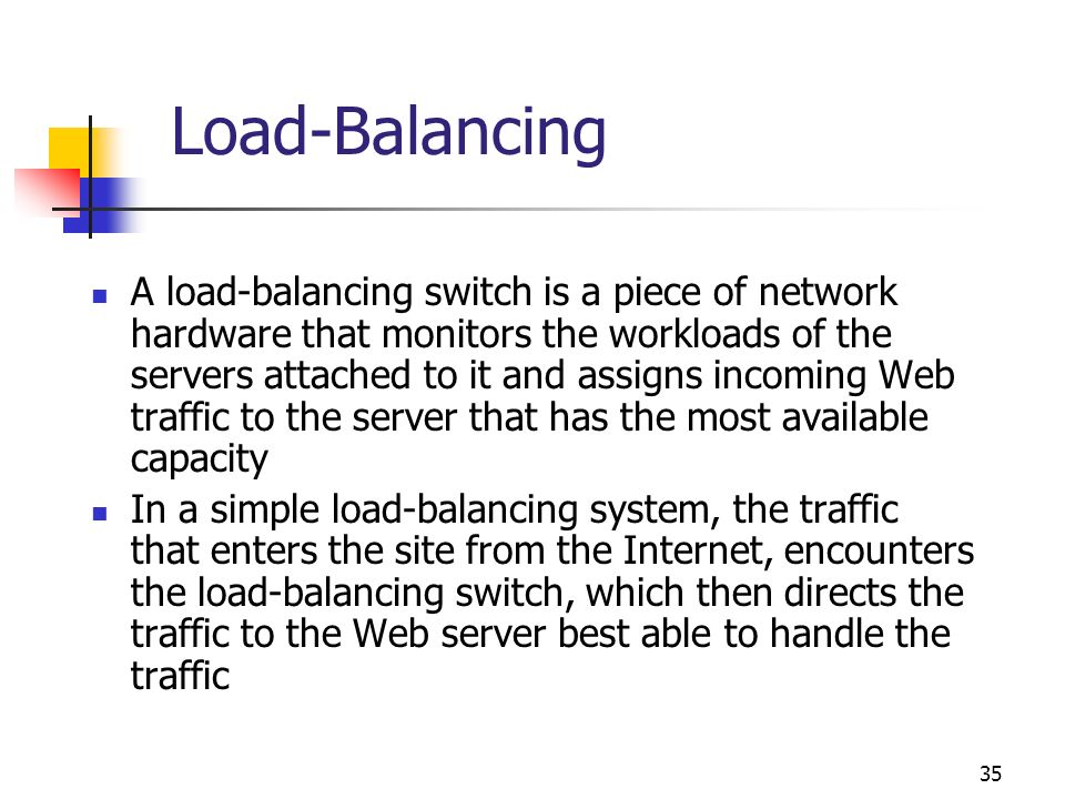 35 Load-Balancing A load-balancing switch is a piece of network hardware that monitors the workloads of the servers attached to it and assigns incomin