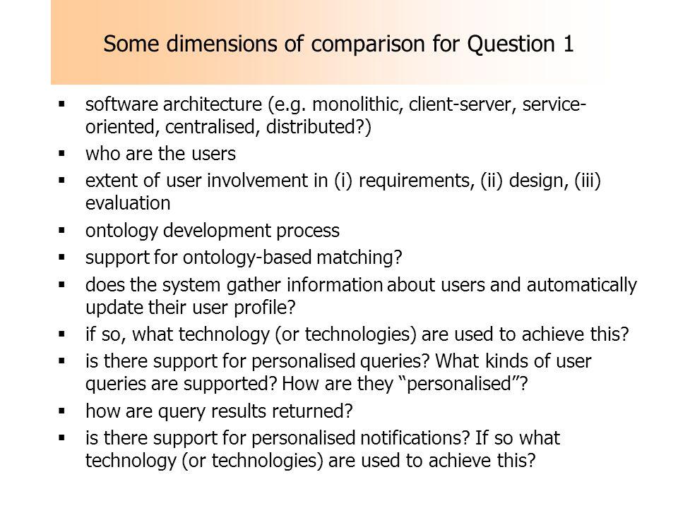 Some dimensions of comparison for Question 1 software architecture (e.g.