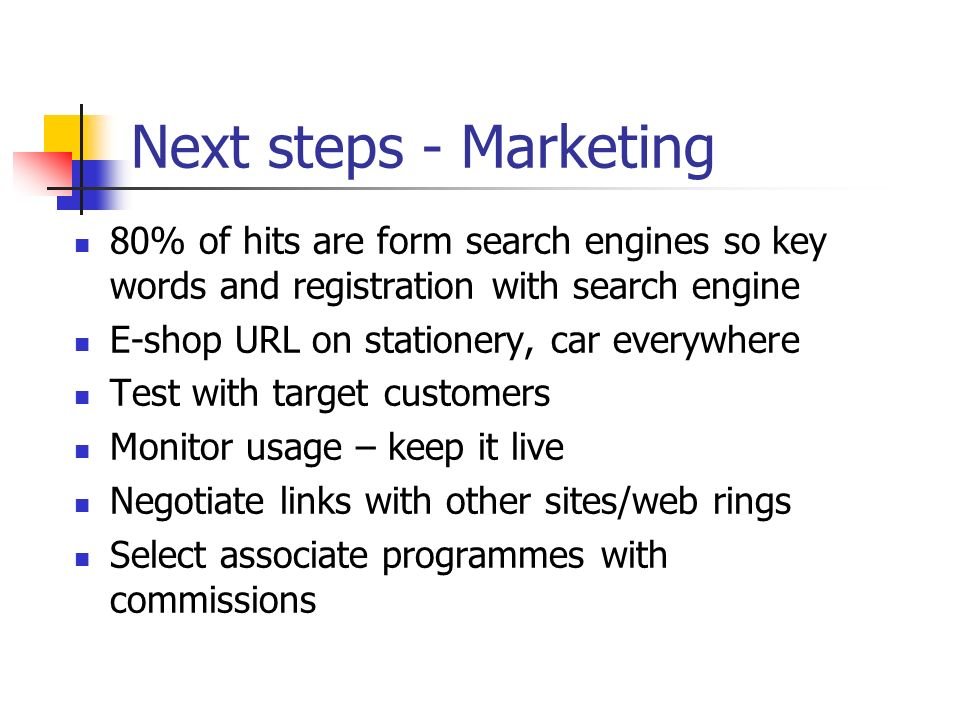 Next steps - Marketing 80% of hits are form search engines so key words and registration with search engine E-shop URL on stationery, car everywhere T