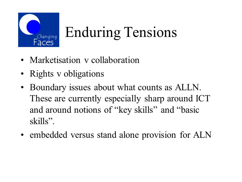 Enduring Tensions Marketisation v collaboration Rights v obligations Boundary issues about what counts as ALLN. These are currently especially sharp a
