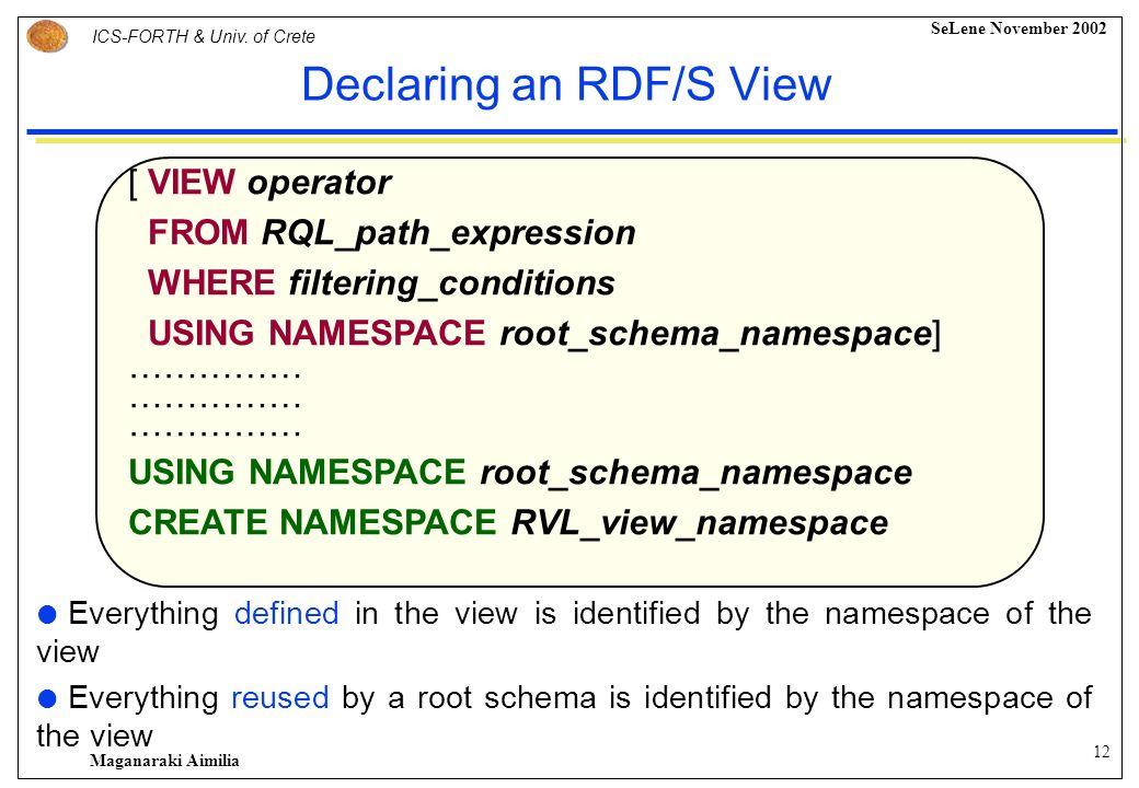 11 ICS-FORTH & Univ. of Crete SeLene November 2002 Maganaraki Aimilia Proposed View Definition Language- RVL Integrates in a uniform way the functiona