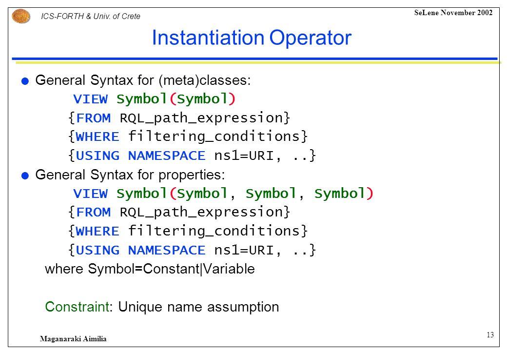 12 ICS-FORTH & Univ. of Crete SeLene November 2002 Maganaraki Aimilia Declaring an RDF/S View [ VIEW operator FROM RQL_path_expression WHERE filtering