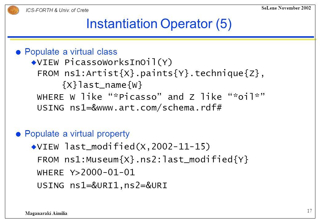 16 ICS-FORTH & Univ. of Crete SeLene November 2002 Maganaraki Aimilia Instantiation Operator (4) Reuse and rename a set of root classes VIEW Class(Gre