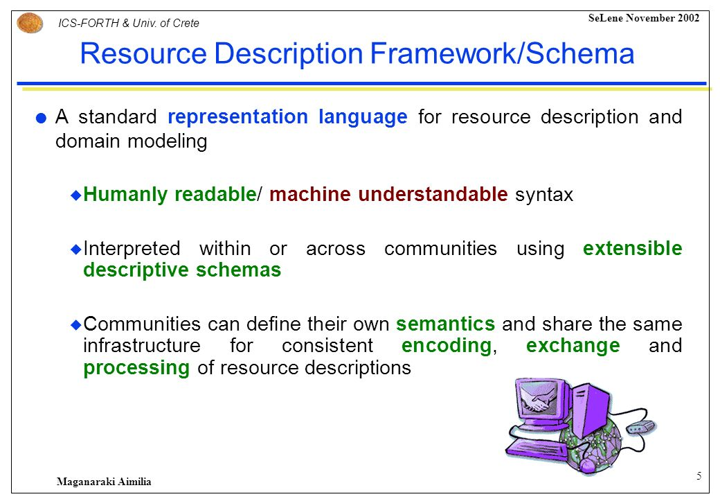 4 ICS-FORTH & Univ. of Crete SeLene November 2002 Maganaraki Aimilia …and why bother with views on Semantic Web? …and for new ones! Web Resource Perso
